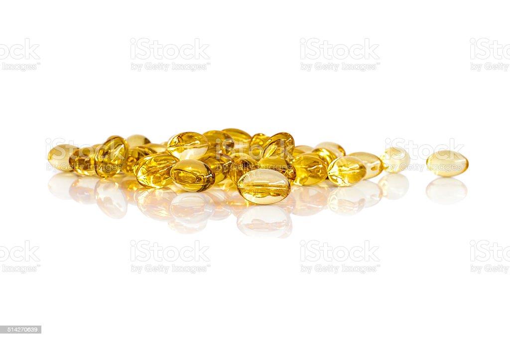 Rice bran oil capsules stock photo