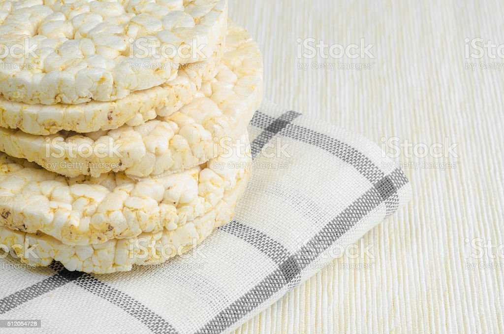 rice cake, puffed rice on table cloth.. stock photo