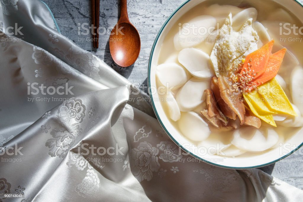 rice cake soup , korean food stock photo