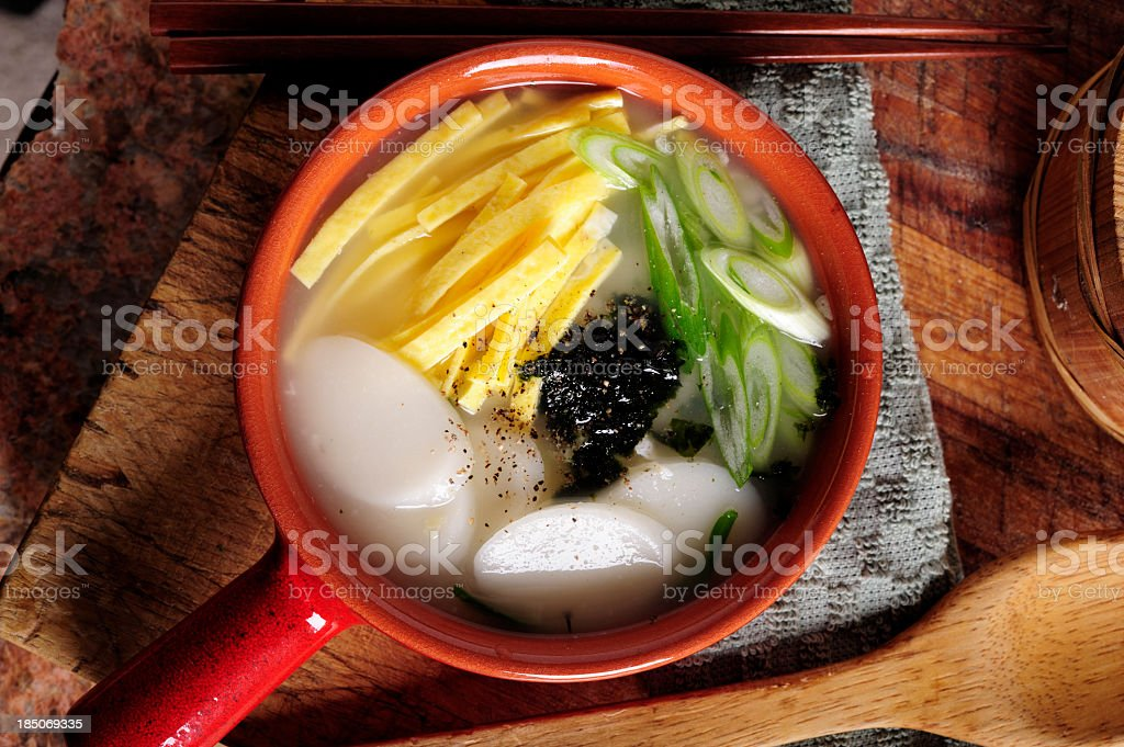 Rice Cake Soup stock photo
