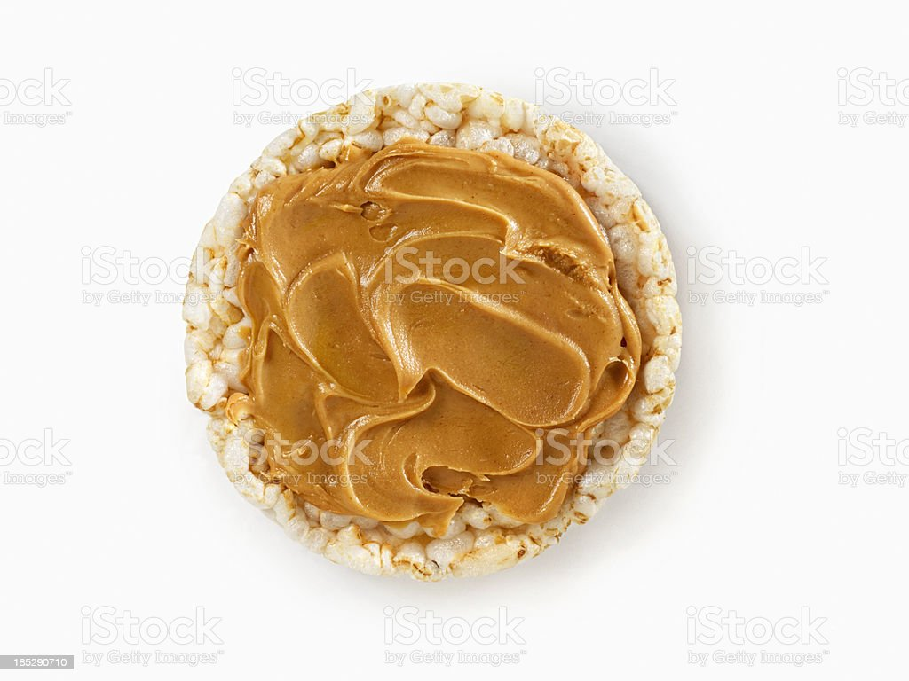Rice Cake with Peanut Butter stock photo