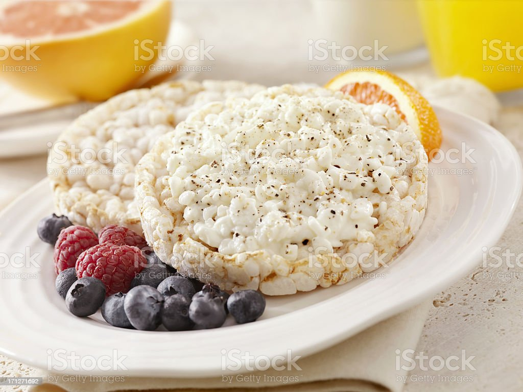 Rice Cakes Topped with Cottage Cheese royalty-free stock photo