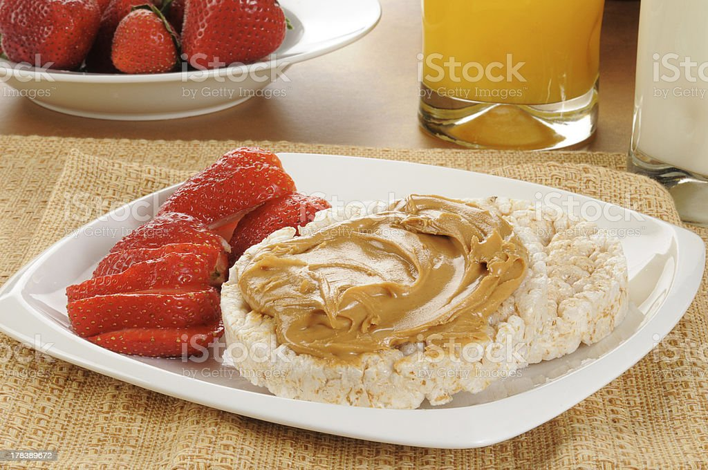 Rice cakes with strawberries stock photo