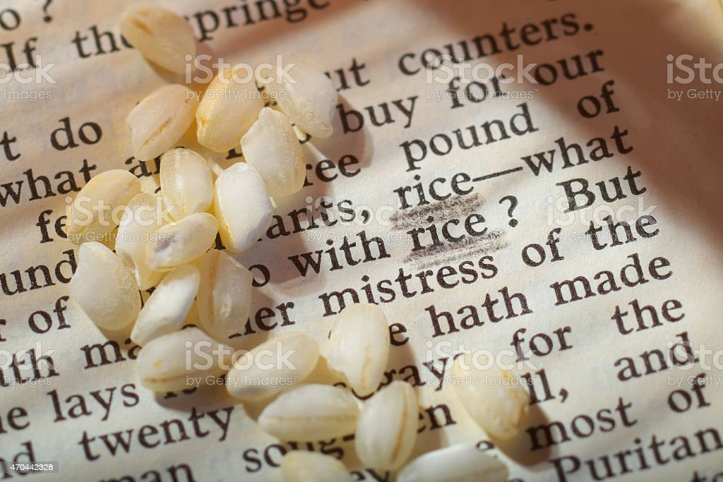 Rice, close up, on a page by W Shakespeare stock photo