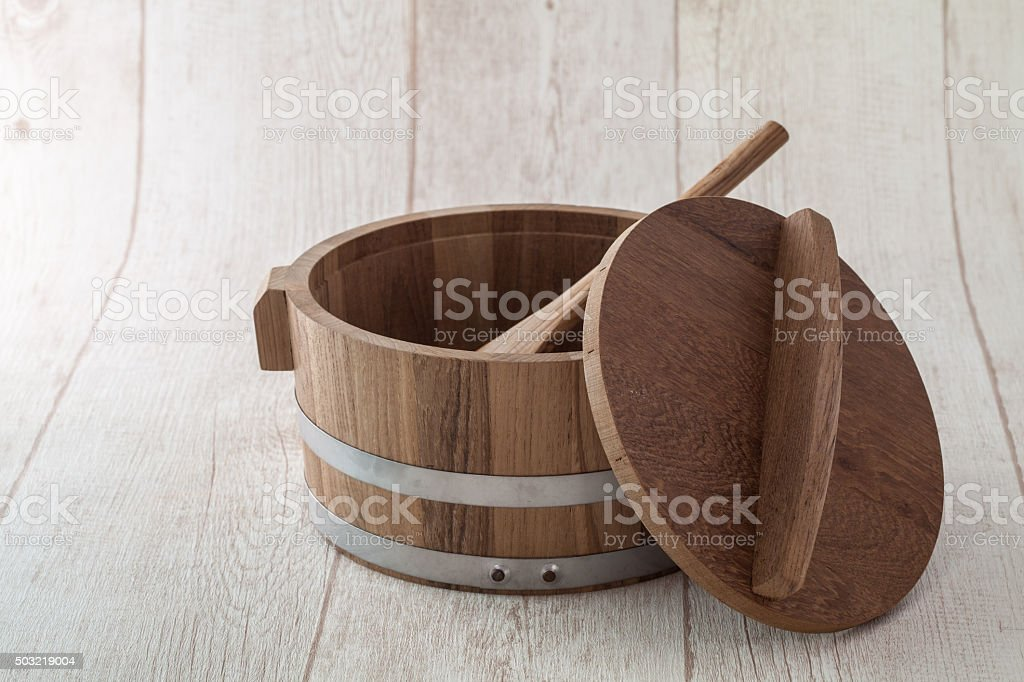 rice container japanese style for sushi rice stock photo