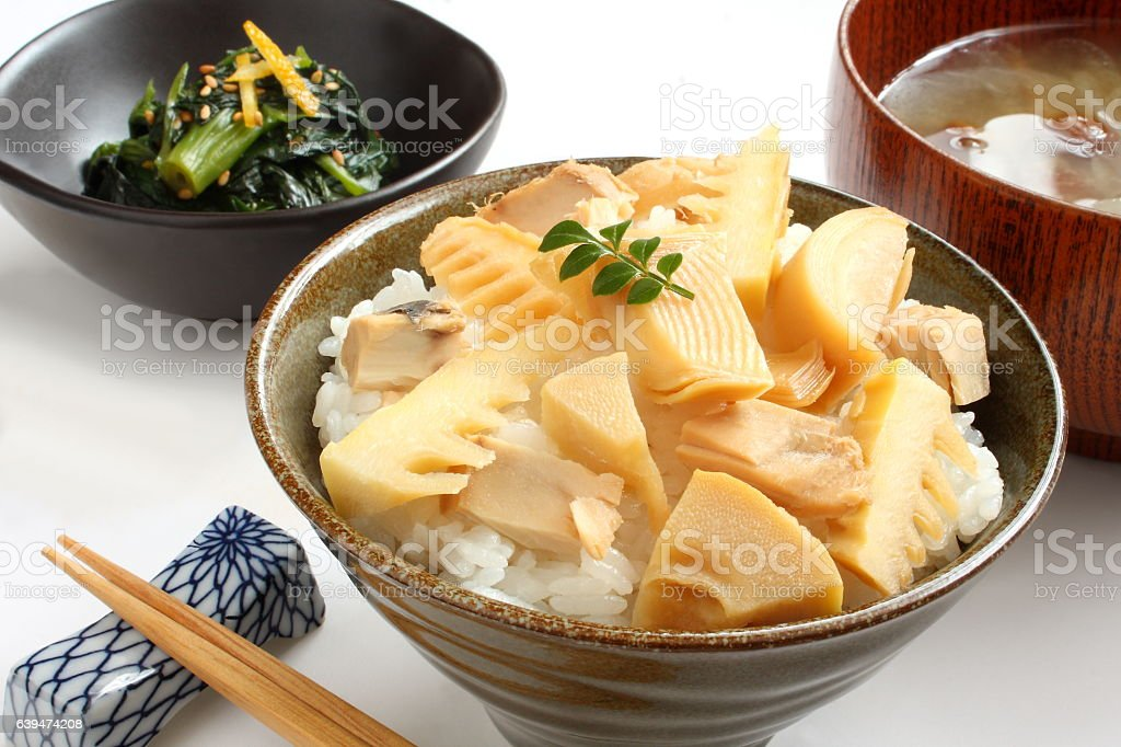 Rice Cooked with Bamboo Shoots with Miso Soup, Boiled Spinach stock photo