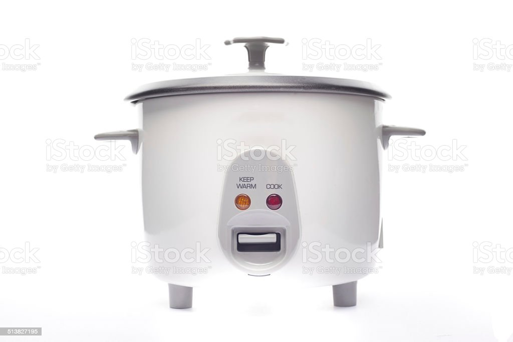 Rice cooker isololated on white background stock photo