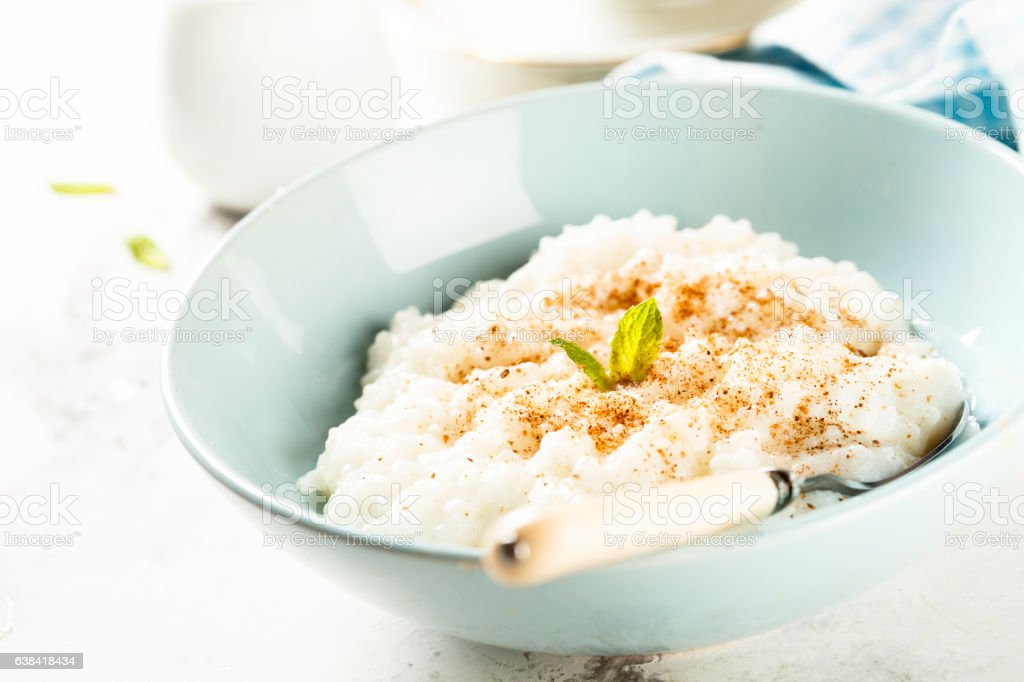 Rice dessert or Milchreis stock photo