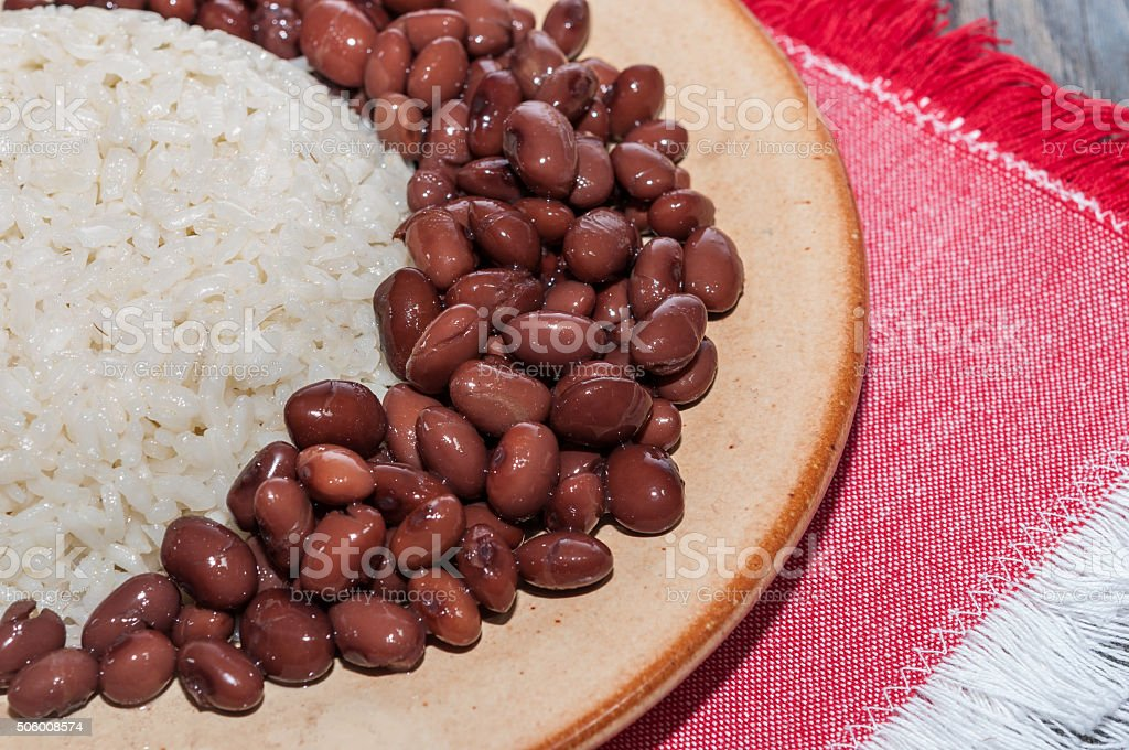 Rice dish with red beans stock photo