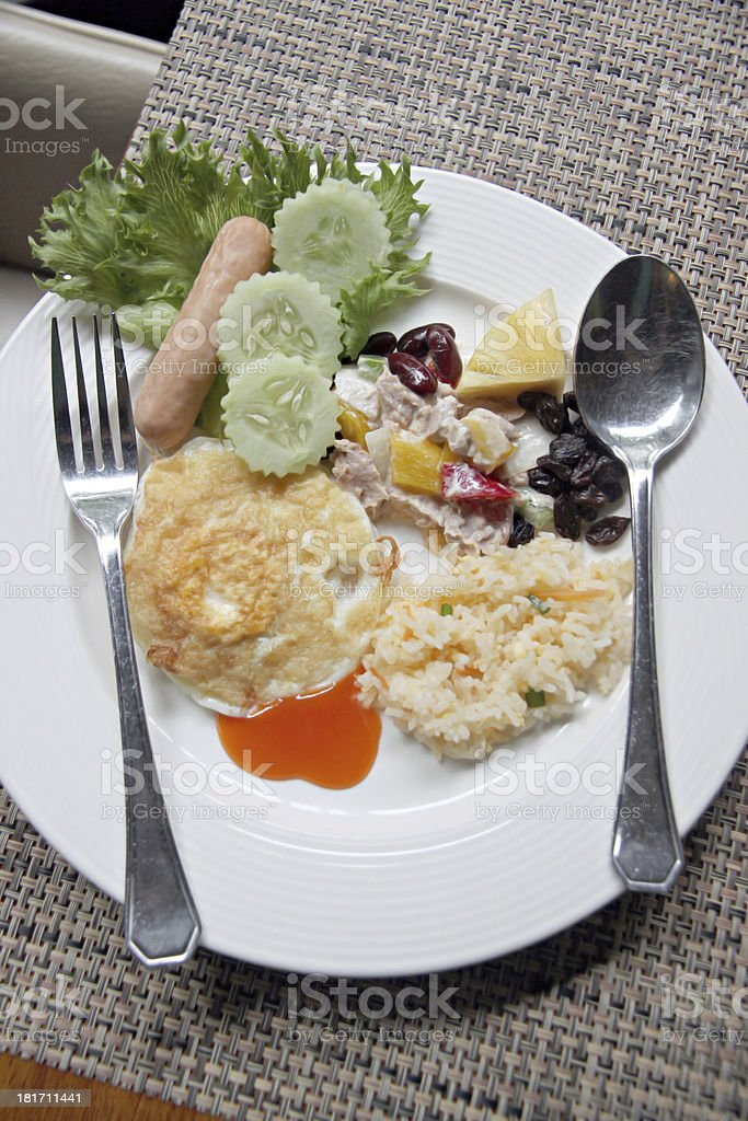 Rice Eggs bacon and toast breakfast. royalty-free stock photo