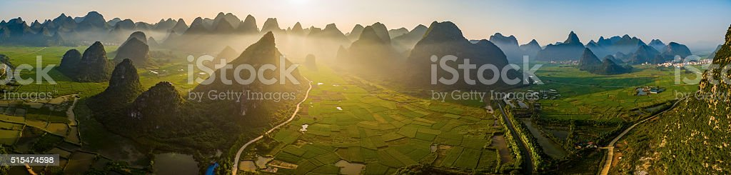 Rice fields at sunset,guilin,china stock photo
