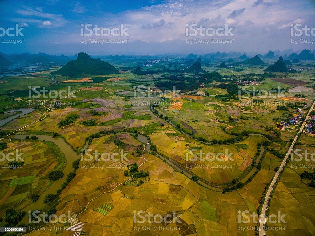 Ryżu pola w zachód słońca, guilin, Chiny zbiór zdjęć royalty-free