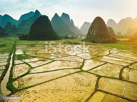 Aerial view of rice fields scenery karst landscape of Guilin, China