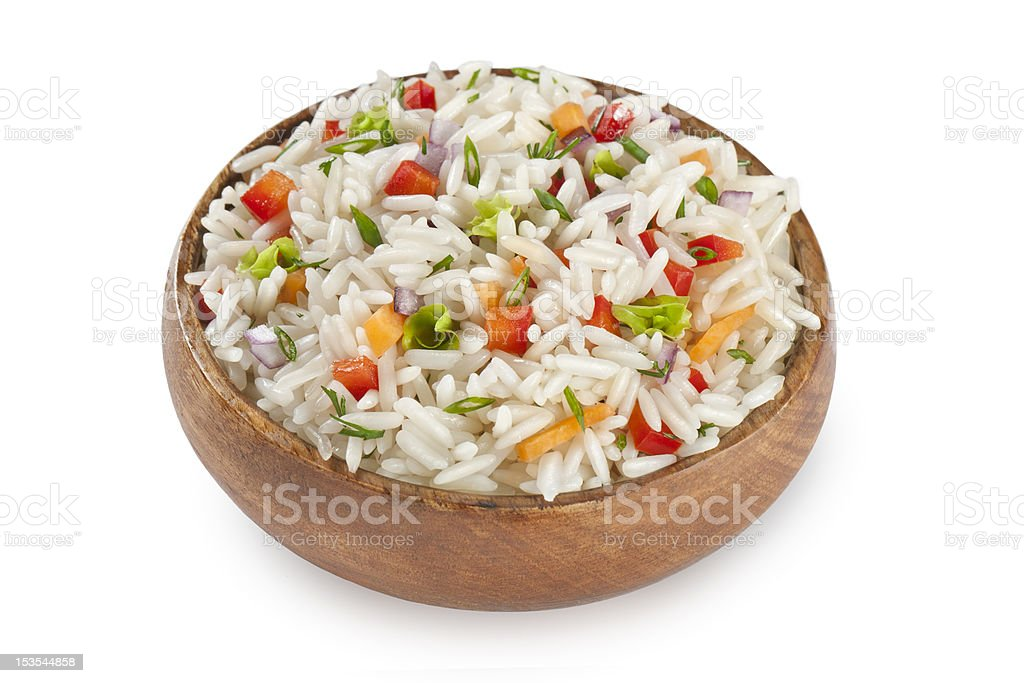 rice garnish with red peppers stock photo