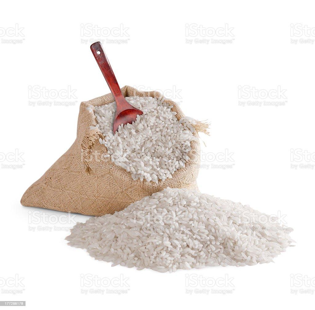 Rice in bag stock photo
