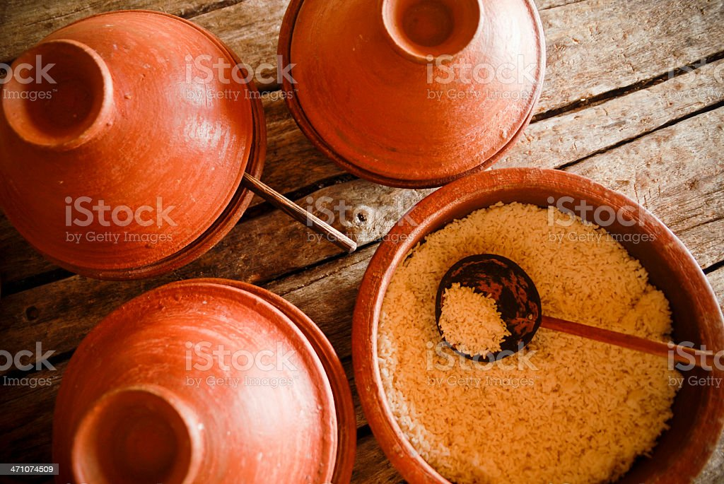 Rice in Clay Pot stock photo