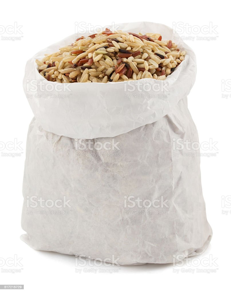 rice in paper bag stock photo