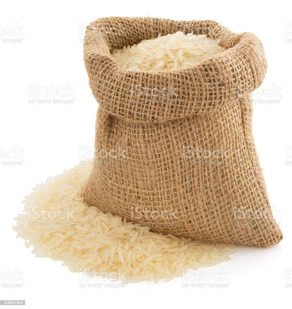 El arroz en saco de bolsa en blanco - foto de stock