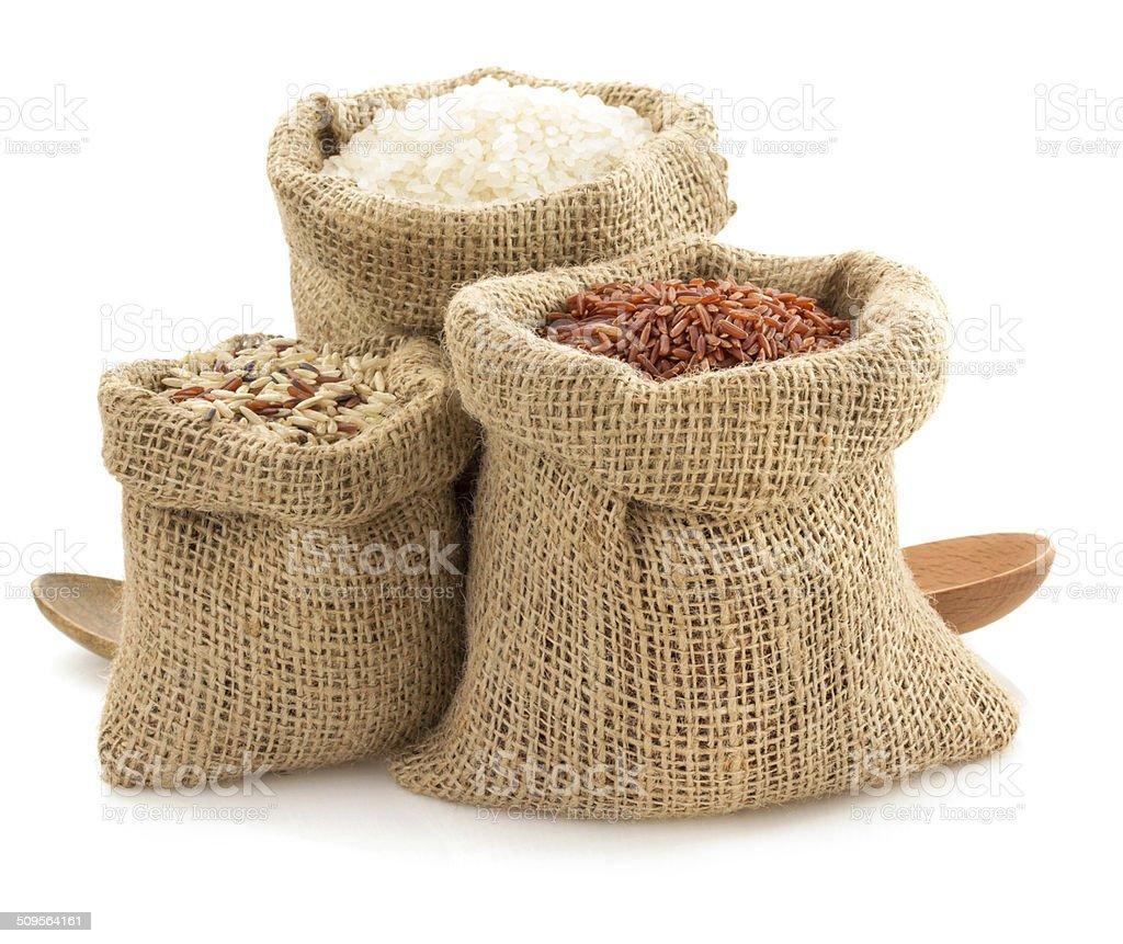 rice in sack bag on white stock photo
