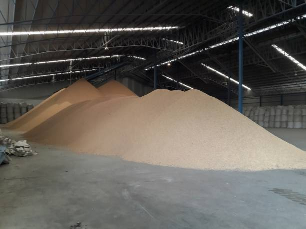 Rice in the warehouse. stock photo