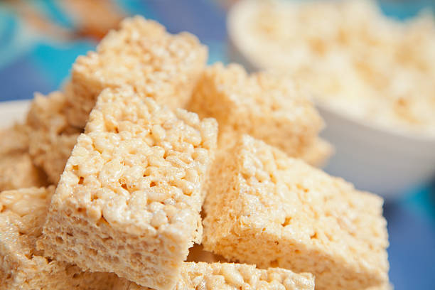 Rice Krispie Cakes Marshmallow flavored Rice Krispie Cakes pampering stock pictures, royalty-free photos & images