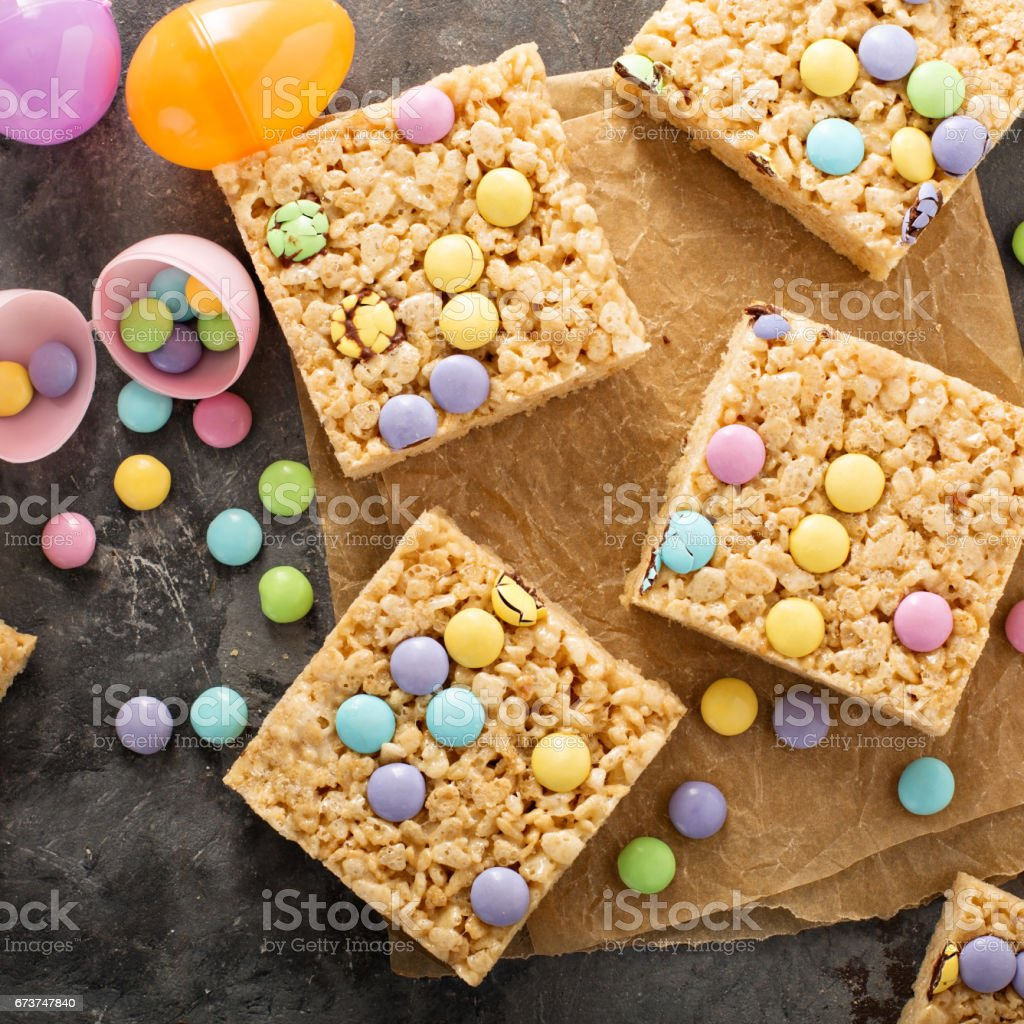 Rice krispies treats with candy royalty-free stock photo