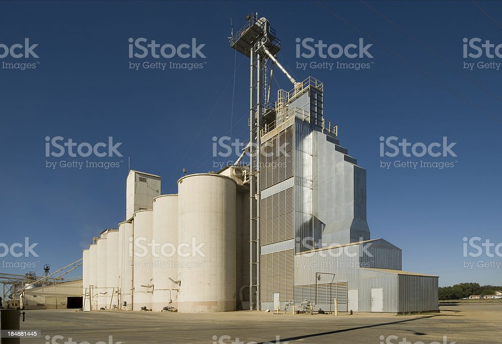 Rice Mill and Storage Facility, Central Valley, California stock photo