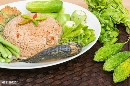 istock Rice Mixed with Shrimp paste fried mackerel 683149720