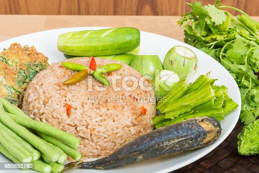 istock Rice Mixed with Shrimp paste fried mackerel 685893792