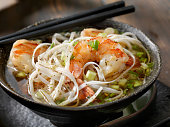 Rice Noodle Pho with Tiger Prawns