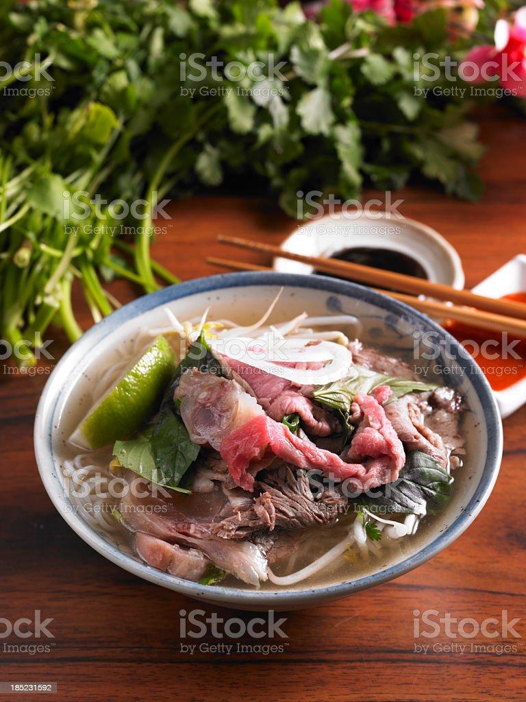 Rice Noodle Soup stock photo