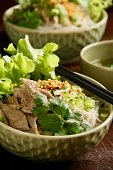 A popular breakfast dish in Medan, North Sumatra, thick rice noodles topped with slices of duck meat, fried garlic, scallion, coriander leaves and served with hot broth.
