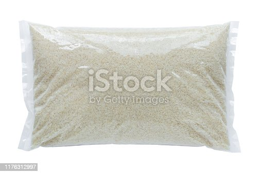 Rice packed in a plastic bag on a white background