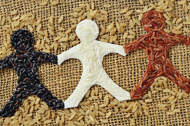 rice people chain - ayuda humanitaria fotografías e imágenes de stock