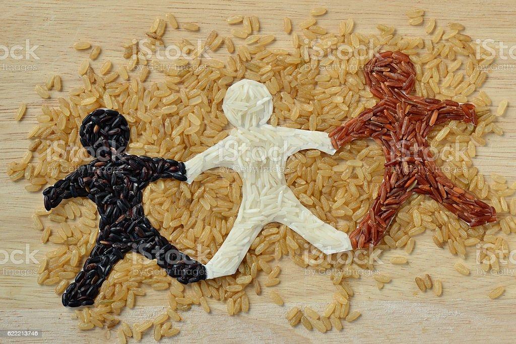 Rice people chain stock photo
