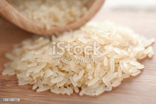 Rice on wooden plank