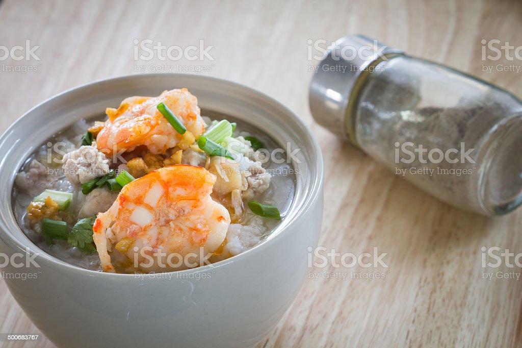 Rice porridge with shrimp stock photo