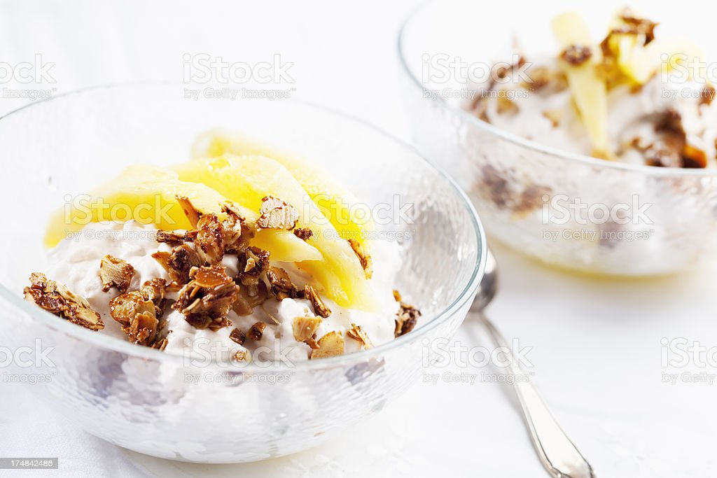 rice puddig roast almond slices mango vegan dessert royalty-free stock photo