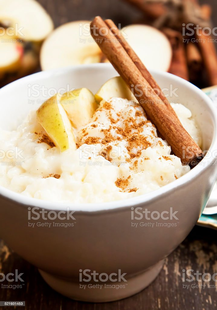 Rice Pudding with Apple and Cinnamon stock photo