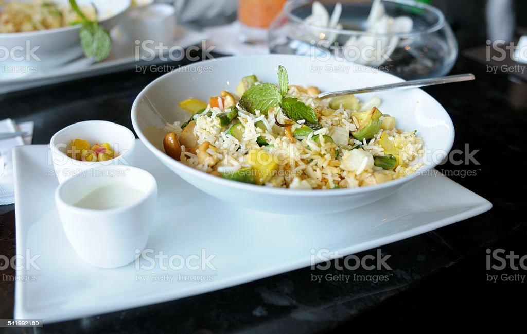 Rice Salad at Restaurant stock photo