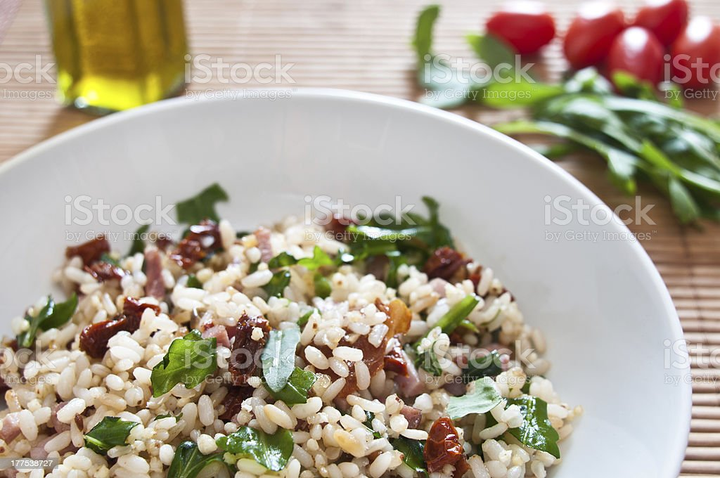 Rice Salad in a White Bowl stock photo