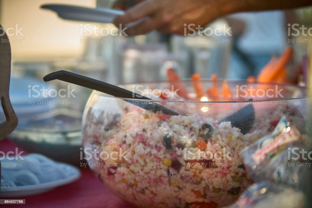Rice salad ready stock photo