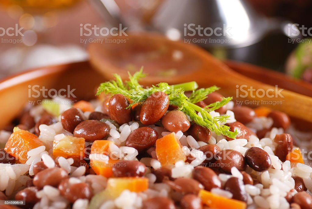 rice soup and beans stock photo