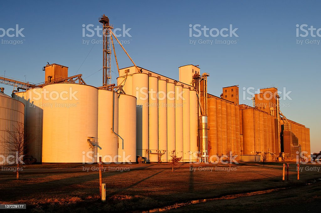 Rice storage and processing plant stock photo