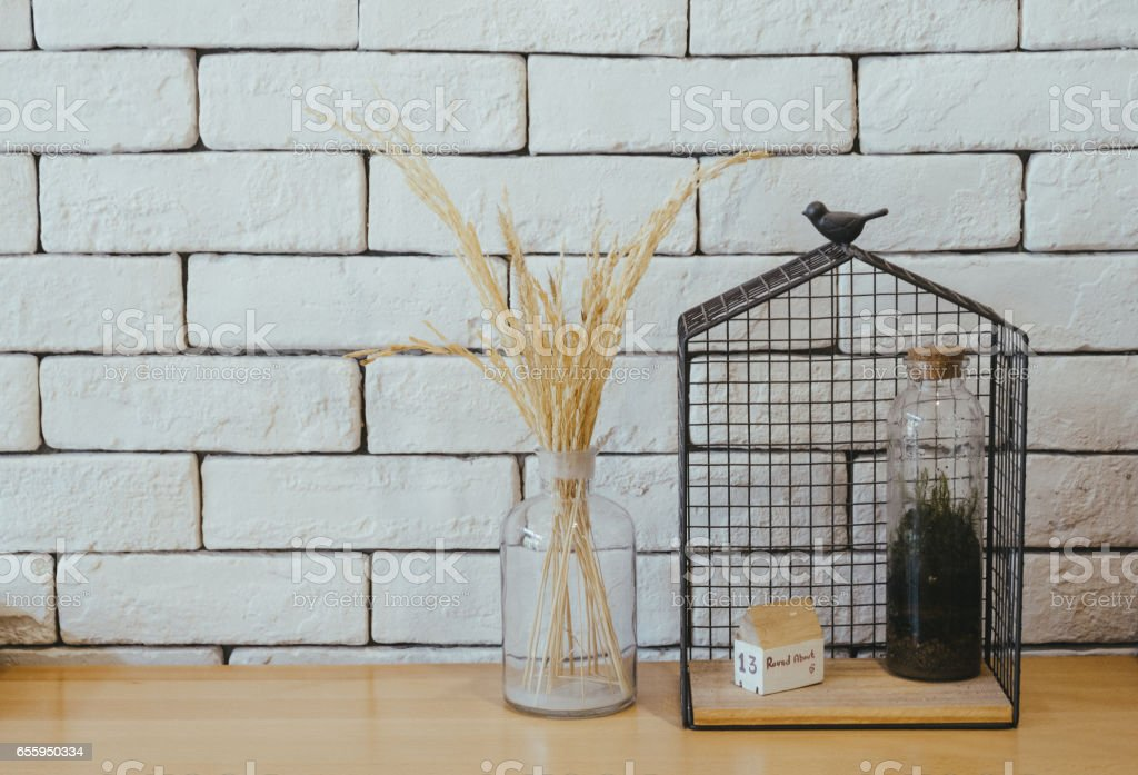 rice straw in the bottle stock photo