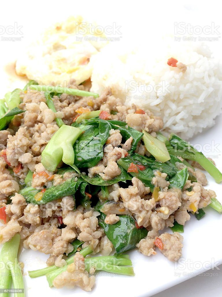 Rice topped with stir fried minced pork and basil, Lizenzfreies stock-foto