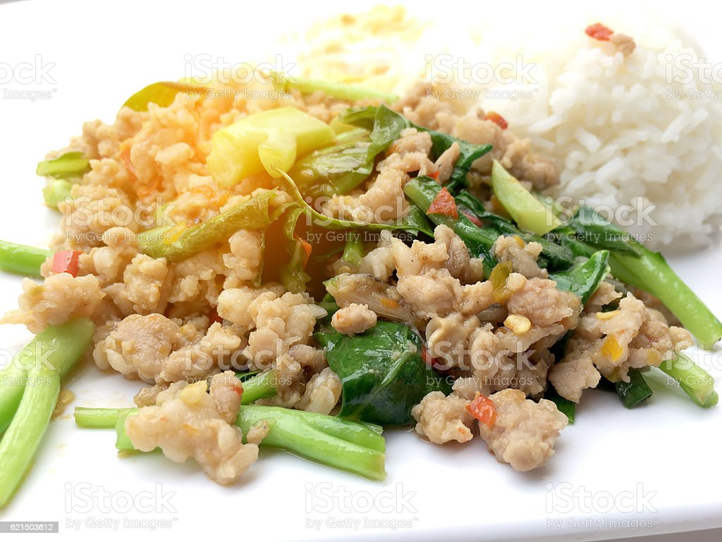 Rice topped with stir fried minced pork and basil, photo libre de droits