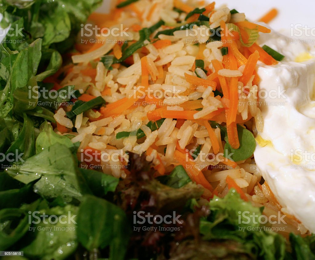 Rice Vegetables, Yoghurt and Olive Oil royalty-free stock photo
