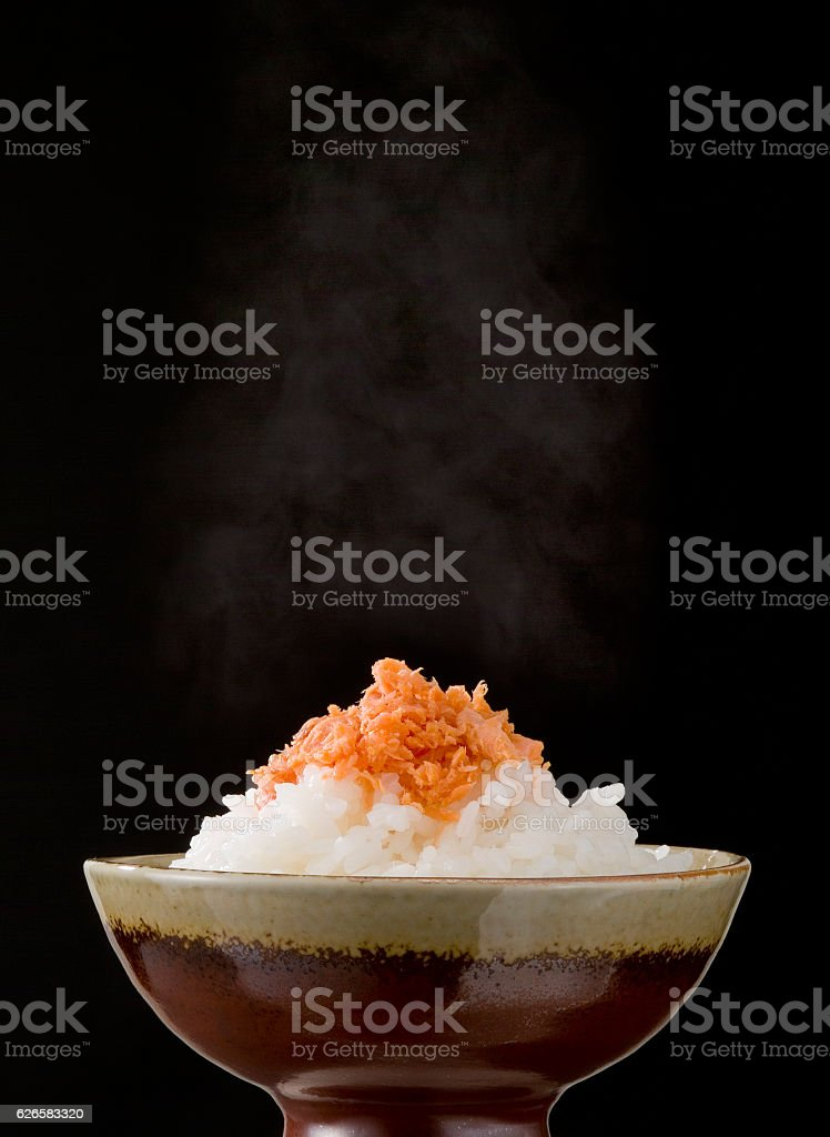 Rice with a topping stock photo