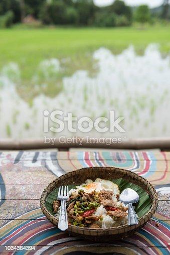 istock Rice with Basil pork and egg near farm 1034364394